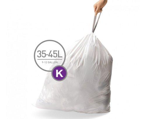 simplehuman Code K Custom Fit Liners, Tall Kitchen Drawstring Trash Bags, 35-45 Liter / 9-12 Gallon, 3 Refill Packs (60 Count)