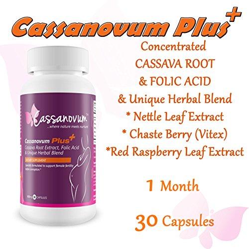 Cassava Supplement, Fertility Supplement for Twins and Healthy Pregnancy (Cassava Root, Folic Acid. Vitex Agnus Castus, Red Raspberry Leaf, Nettle Leaf)