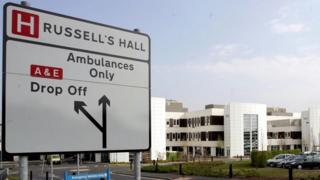 Sign leading to Russells Hall Hospital, Dudley