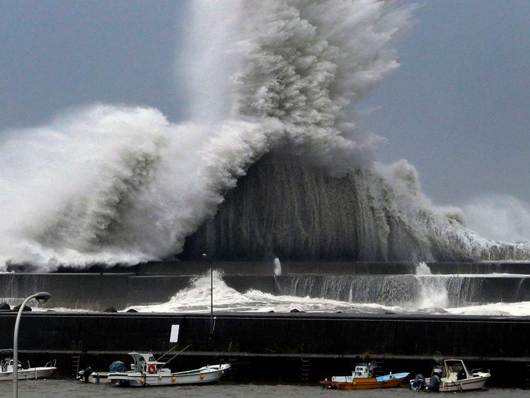 High waves hit breakwaters at a port of Aki, Kochi prefecture, Japan