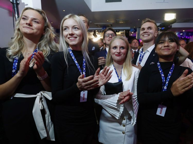 Sweden Democrats Party members react to exit polls