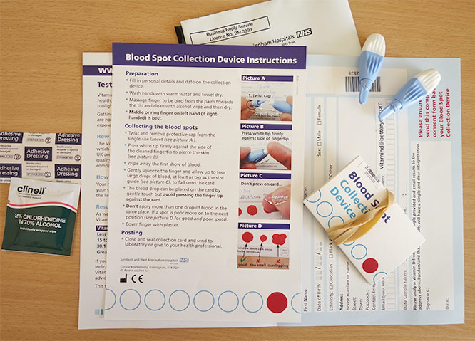 blood spot collection device and instructions