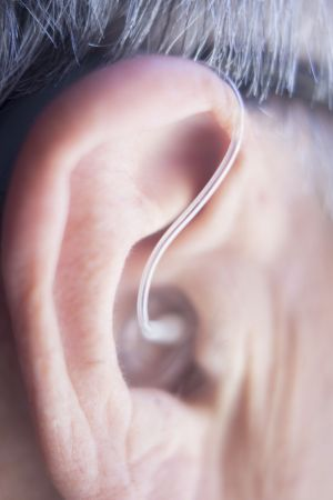 close-up of hearing aids in the ear