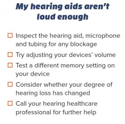 """Checklist for """"My hearing aids aren't loud enough"""" from troubleshooting handout"""