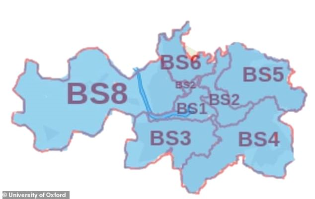 Bristol Children's Vaccine Centre (pictured its catchment area) is one of the three centres recruiting for volunteers to take part in coronavirus human trials