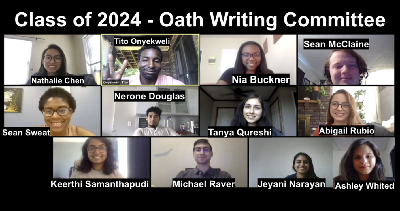 Members of the Class of 2024 Oath Writing Committee on a Zoom call together