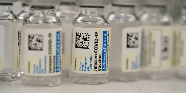 Vials of Johnson & Johnson COVID-19 vaccine in the pharmacy of National Jewish Hospital for distribution in east Denver on March 6, 2021.  (Associated Press)