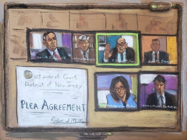 A court sketch showing Purdue Pharma's chairman, Steve Miller (top row, second from right). He entered a guilty plea on the company's behalf during a virtual court hearing in November.